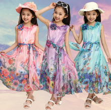 Summer 2015 New Fashion matching mother daughter clothes,Bohemian Flowers Sleeveless girl dress women dress kids clothes