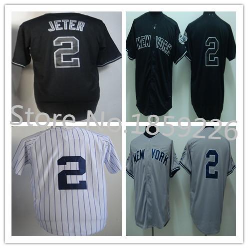 Free shipping Cheap #2 Derek Jete jersey 100% High quality Authentic new york baseball shirts Stitched jersey yankees 2015(China (Mainland))