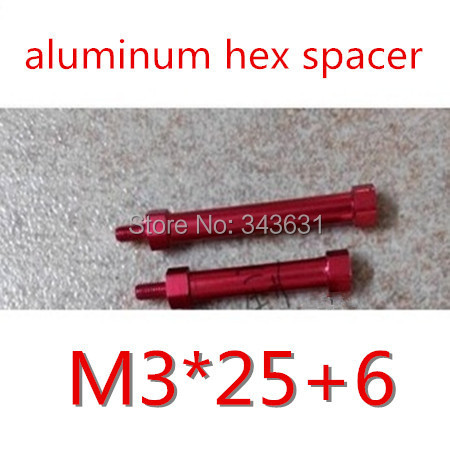 High Quality Multicopter Frame Dia. 5mm M3x25+6  Red Aluminium Standoff  Hex Pillar Spacer male to female<br><br>Aliexpress