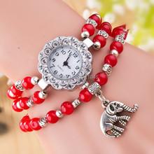 Verano nueva calidad moda relojes rojo Semi precious Rally reloj de pulsera de alambre de piedra Natural elefante colgante Wristwatche SB027P