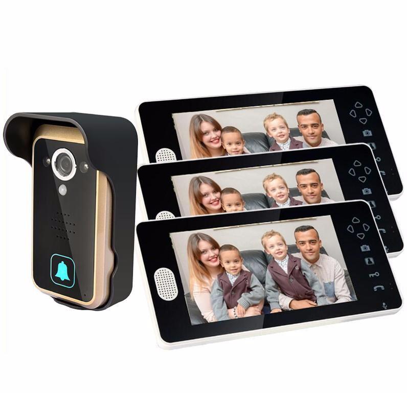 """2.4G 7"""" Camera 3 monitor wireless door intercom video door phone wireless monitor(China (Mainland))"""
