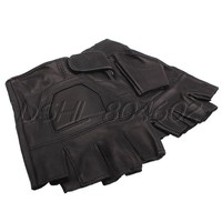 Fashion Men Lambskin Leather Half Finger Gloves for Outdoor Motorcycle Driving