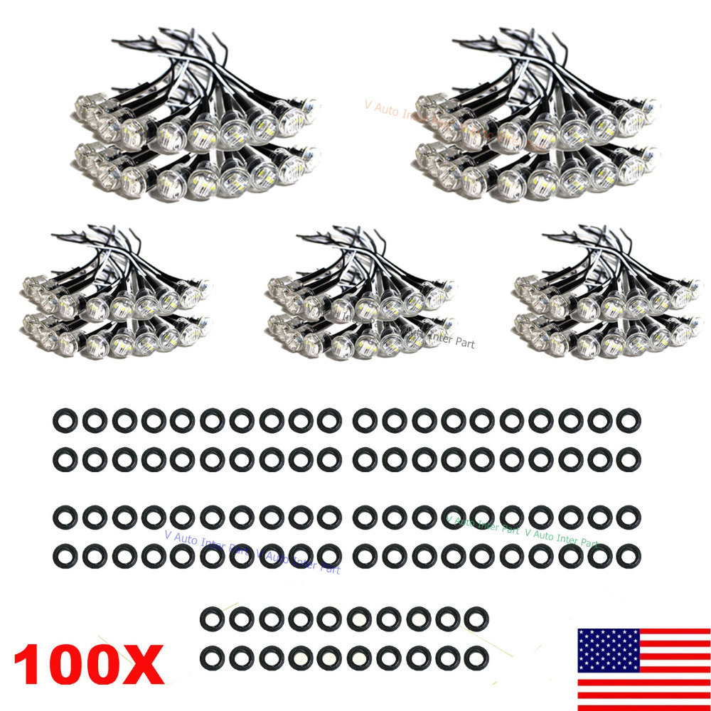 """100X Mini White 3/4"""" 0.75 inch Round Side 3 LED Marker for Truck Boat Stair Trailer Bullet Clearance License Light US Stock(China (Mainland))"""