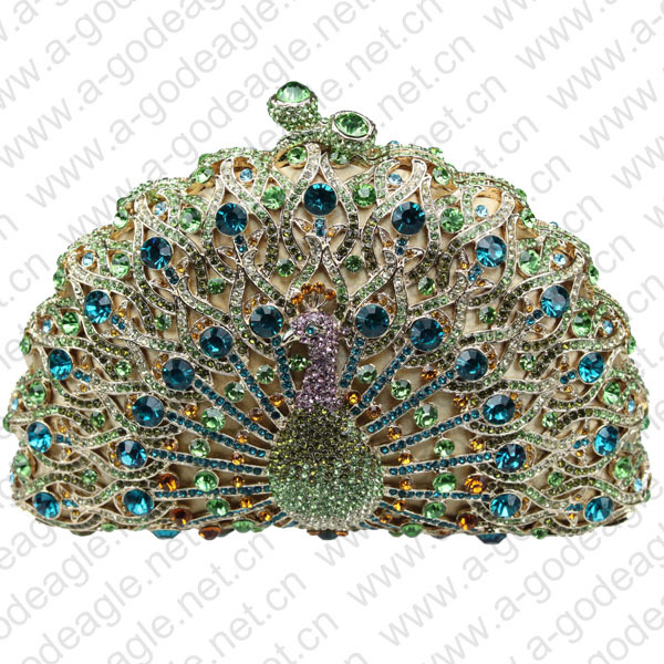 green HK AB cheap crystal animal peacock handmade bag for elegant ladies on wedding parties(China (Mainland))