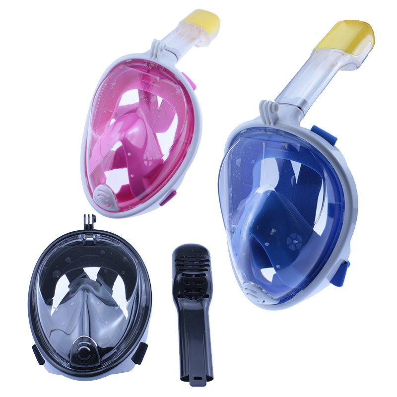 2017 Underwater Scuba Anti Fog Full Face Diving Mask Snorkeling Set with Earplug Respiratory masks Safe and waterproof D1120HY(China (Mainland))