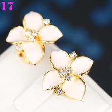 Sakura women sweet silver plated zircon earrings in two colors(China (Mainland))
