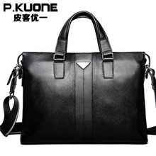 P.Kuone famous brand handbags real genuine leather bags for men briefcases men's leather laptop bag briefcase shoulder bags(China (Mainland))