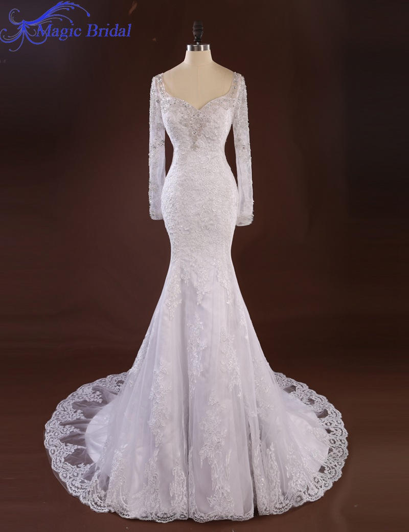 Buy romantic white long sleeve lace for Lace white wedding dress