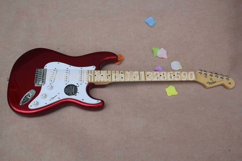 2019 Free Shipping New Arrival Guitar F SSS Stratocaster Red White Pickguard 6 Strings natural Wood Electric Guitar 64(China (Mainland))