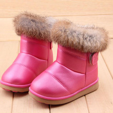 Thick Warm Rubbit Fur Children Snow Boots Waterproof Baby Winter Shoes soft rubber outsole Kids Girls Boots(China (Mainland))
