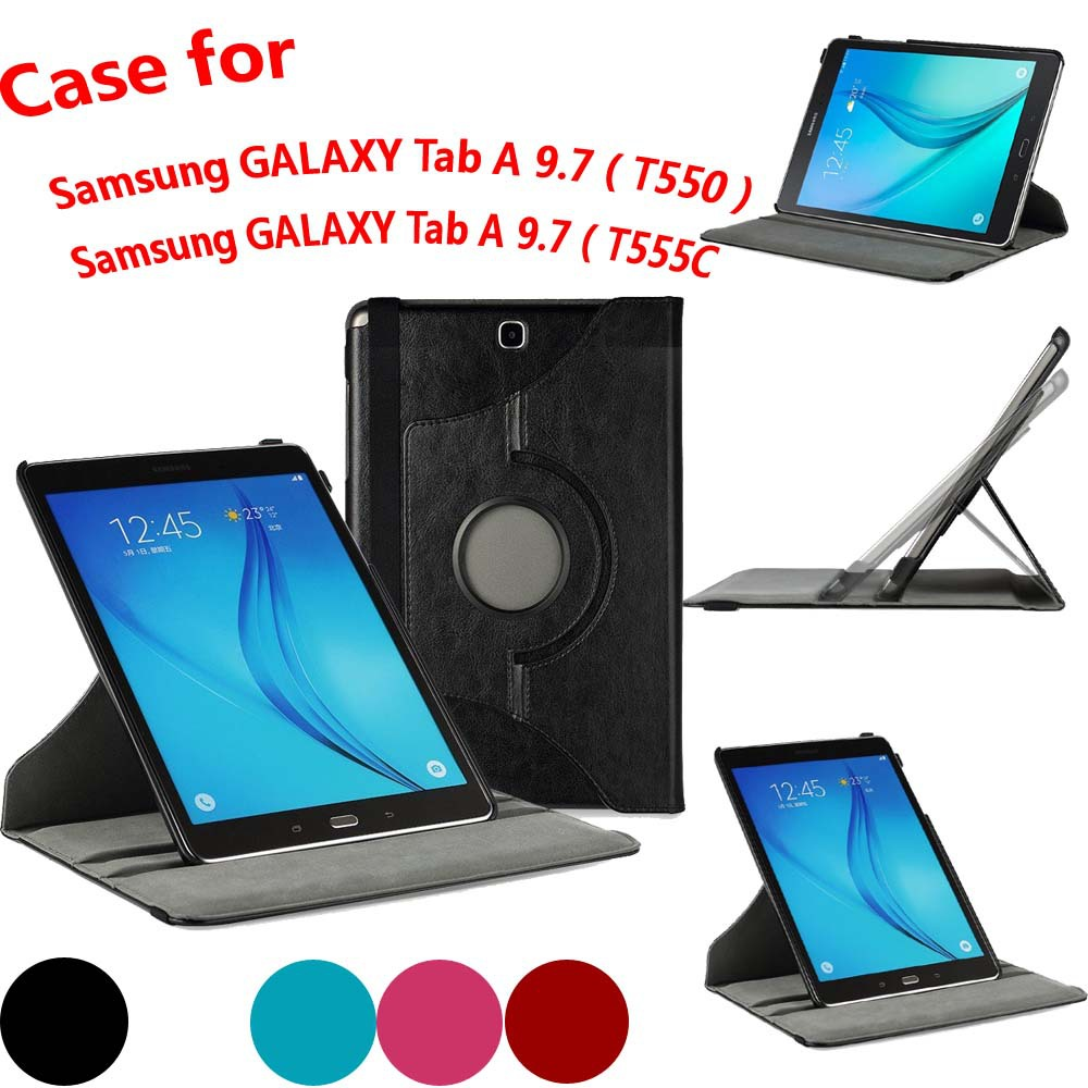 360 Degree Rotating Swivel Stand Auto Sleep/Wake cover case for samsung galaxy Tab A 9.7-inch Tablet SM-T550 T555C, SM-P550)(China (Mainland))