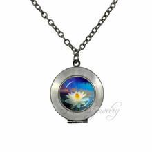 Buy White Lotus Locket Pendant Lotus Necklace Charm OM Choker Jewelry Mandala Neckalces Buddhism Zen Meditation Collier for $3.59 in AliExpress store