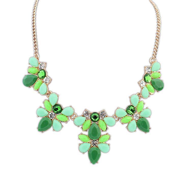 fashion popule resin rhinestone green women pendant neklace for women wedding men jewelry(China (Mainland))