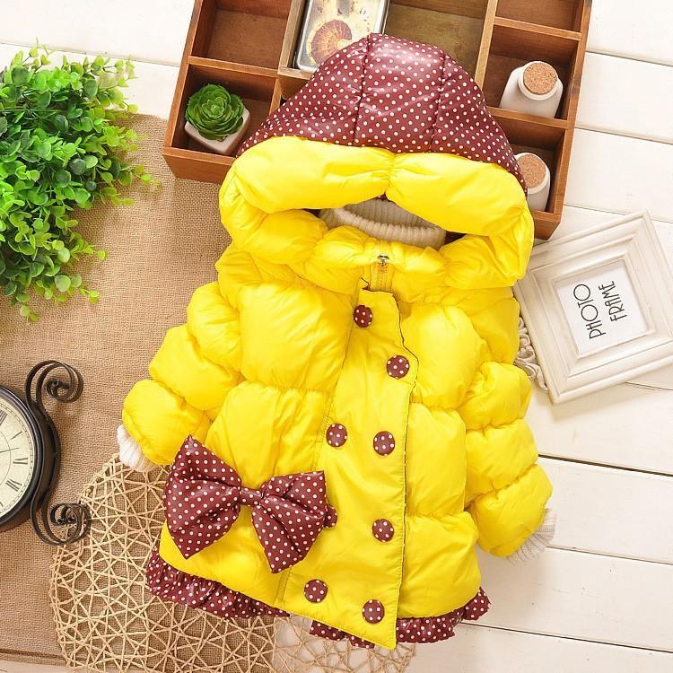 Дети пальто девочки-младенцы зима пальто длинная рукавами с бант девочка в тёплый младенцы куртка зима верхняя одежда толстый дети закрытый воротник
