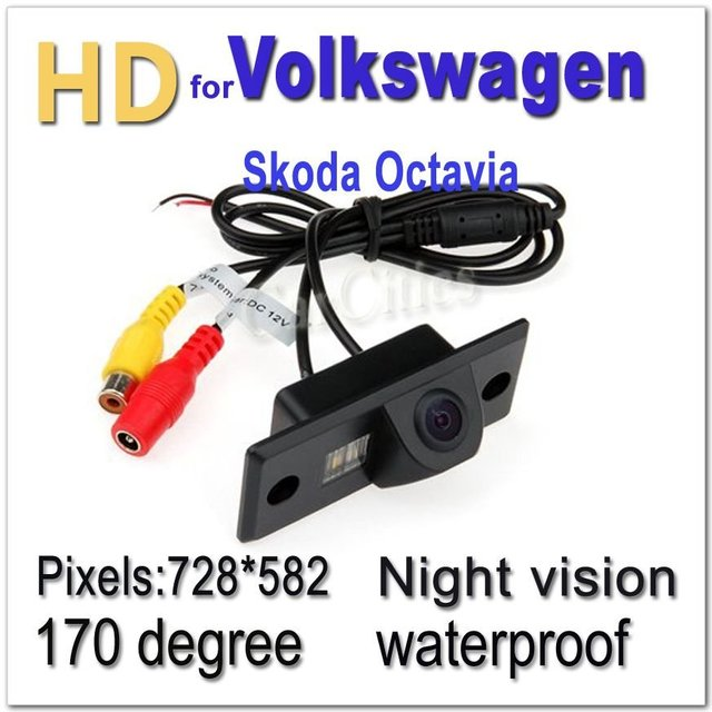CCD HD Car parking Camera Wired170 degree for Volkswagen Skoda Octavia Waterproof  shockproof Night version Size:87*26.5*29.8 mm