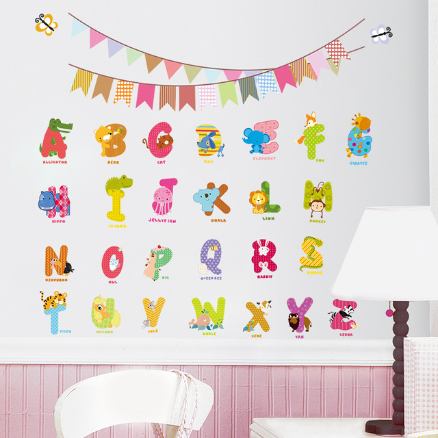 New Animal characters letters wall sticker Flag Nursery kids room Birthday decoration English wall Decals alphabet logo Gif(China (Mainland))