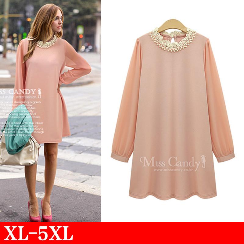 xl 5xl plus size european autumn fashion tshirt dress long sleeve pink black patchwotk chiffon beaded dresses clothing