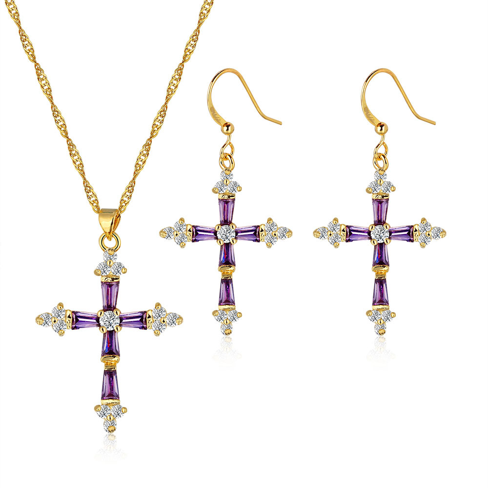 New Cross jewelry, 18K gold-plated jewelry set, high quality zircon pendant earrings suit, Ms. jewelry wholesale, free shipping(China (Mainland))