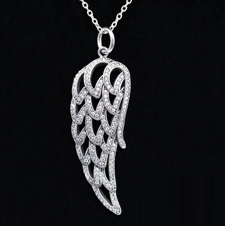 pure silver Jewelry 100% 925 Sterling Silver Angel Wing, Clear CZ Authentic Charms Original DIY Wholesale big women necklace(China (Mainland))