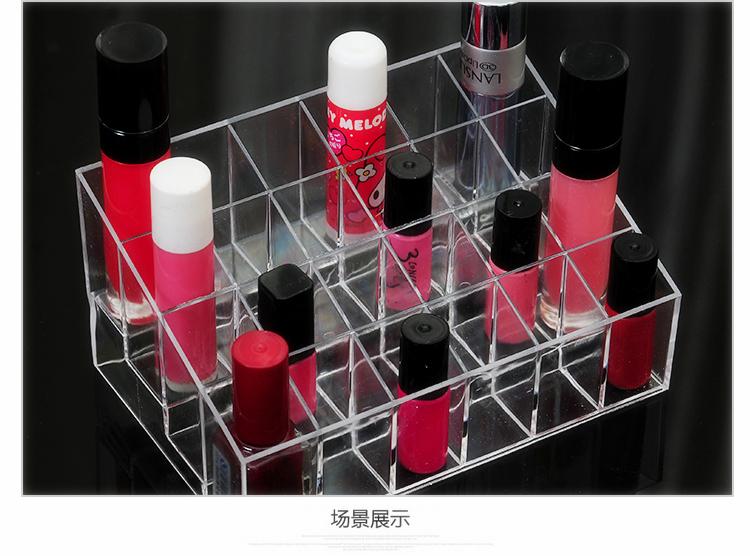 24 Trapezoid Clear Acrylic Makeup Display Lipstick Stand Case Cosmetic Organizer Make up Case Holder Box Jewelry Storage(China (Mainland))