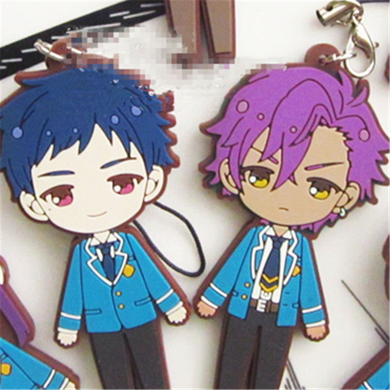 "[PCMOS]Anime Ensemble Stars ES Game 3"" Rubber Phone Strap Keychain Charm 7pcs Set 16062315(China (Mainland))"