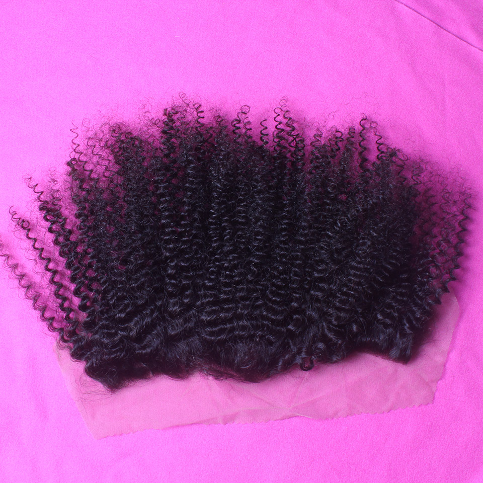 """7A Peruvian Virgin Hair Afro Kinky Curly Lace Frontal Closure 13""""*4"""" Bleach Knots Cheap Full Lace Frontal Piece With Baby Hair(China (Mainland))"""