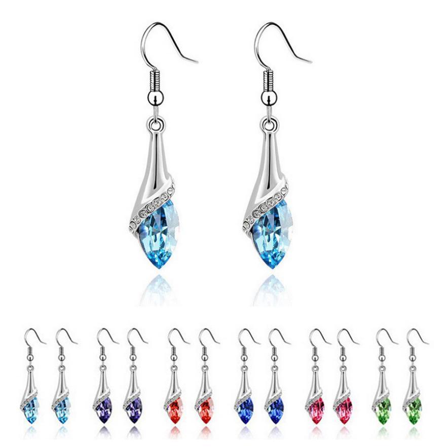 Free Shipping+No Minimum Spending&18K White Gold GP Crystal Rhinestone Drop Dangle Wedding Earrings Hook Jewelry(China (Mainland))
