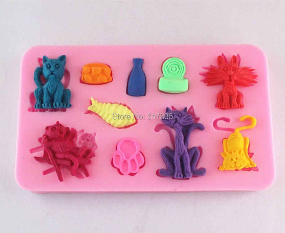 3D FM091 cat and fish Silicone Cake Chocolate Soap Pudding Jelly Candy Ice Cookie Biscuit Mold Mould Pan Bakeware Wholesales(China (Mainland))