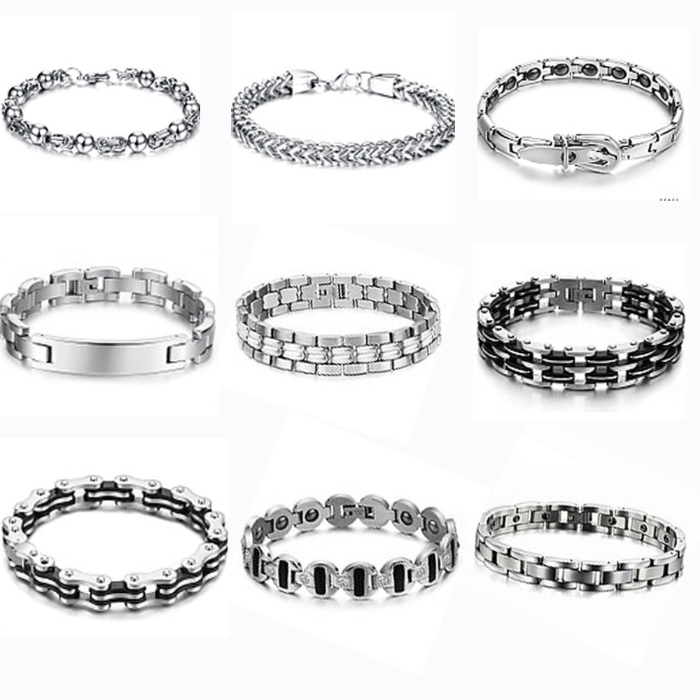 (min order $10)Mix order 5pcs/lot personalized 316L stainless steel bracelets &amp; bangle for man free shipping<br><br>Aliexpress