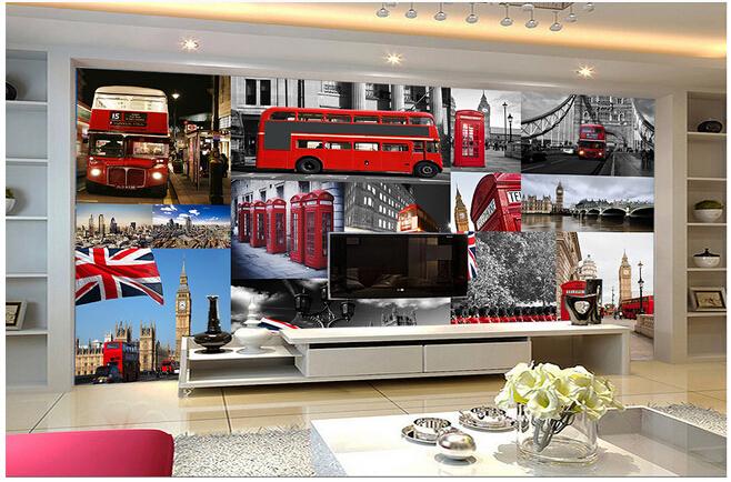 Custom retro wallpaper mural red london bus telephone for Home wallpaper london
