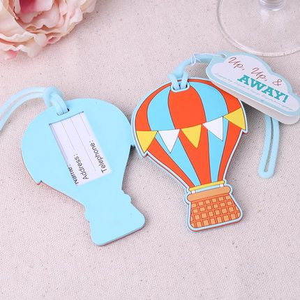 "Free shipping 10pcs/lot New Travel Favors "" Up.up & Away "" Hot Air Balloon Luggage Tags Rubber Luggage Tags, Wedding Favors(China (Mainland))"