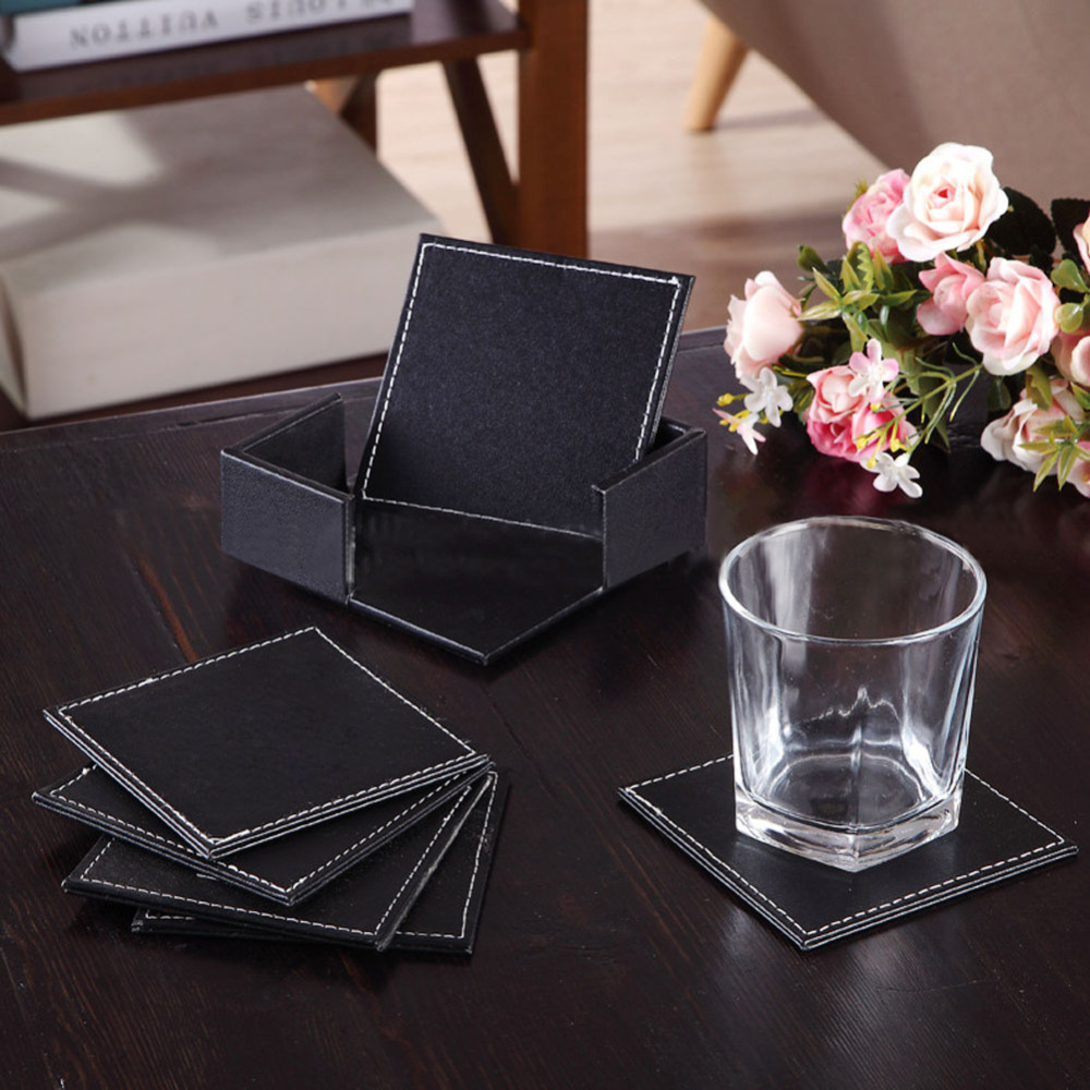 6 Pcs Set Home Table Cup Mat Double Deck Leather Coasters