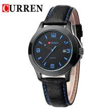 Con estilo de la raya azul rojo clásico negocio de moda Casual Curren marca hombres del cuero genuino de cuarzo reloj calendario de regalo