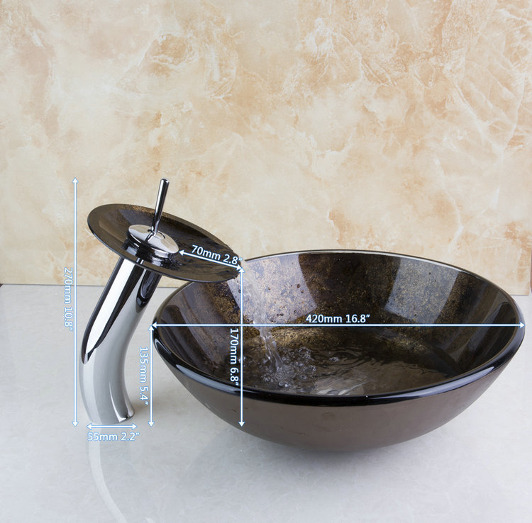 Reasonable Price Construction Real Estate Bathroom Vessel With Drainer Glass Basin Sink Set