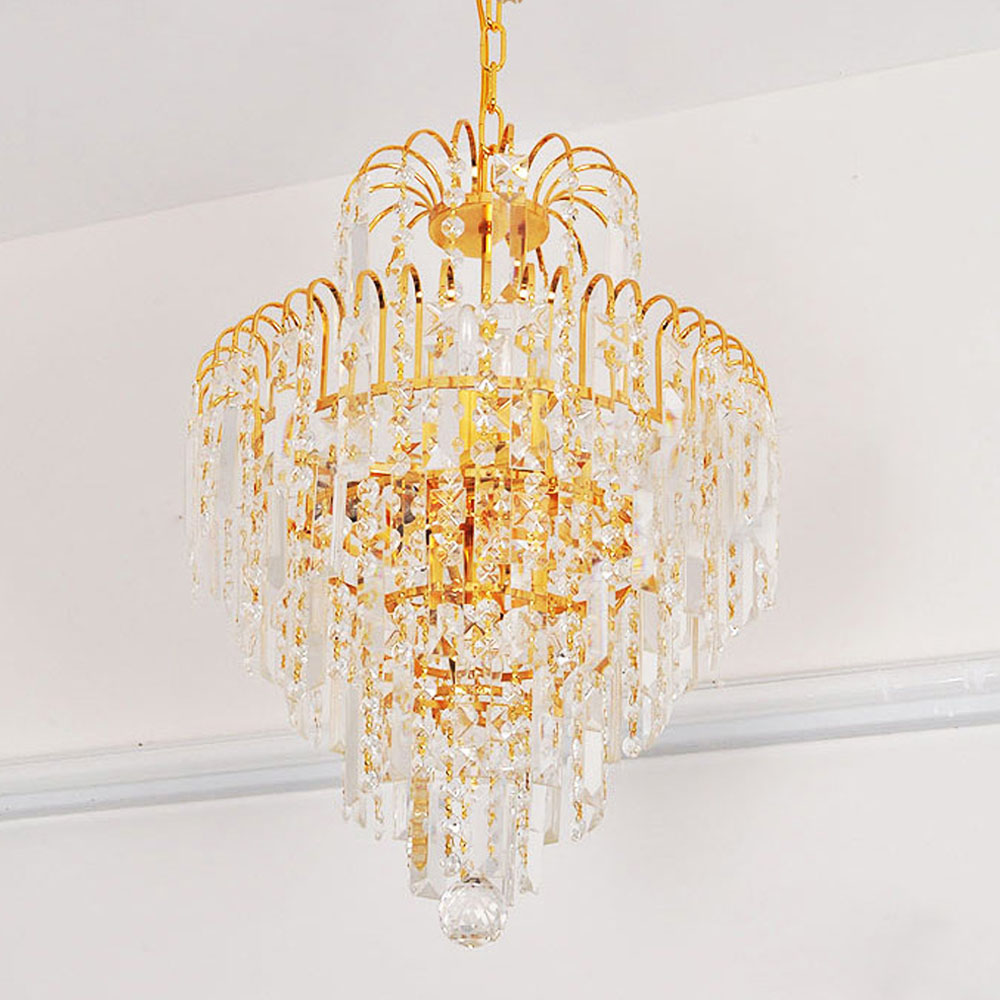 Luxury royal golden crystal chandelier diy crystal for Diy led chandelier