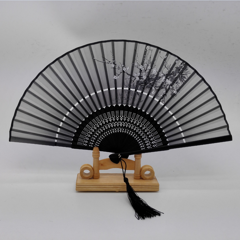 Hot Sale Japanese Ladies Cheaper Bamboo Folding Hand Fans,Wholesale Personalized Bamboo Fan of Old Wedding Decoration Black 2(China (Mainland))