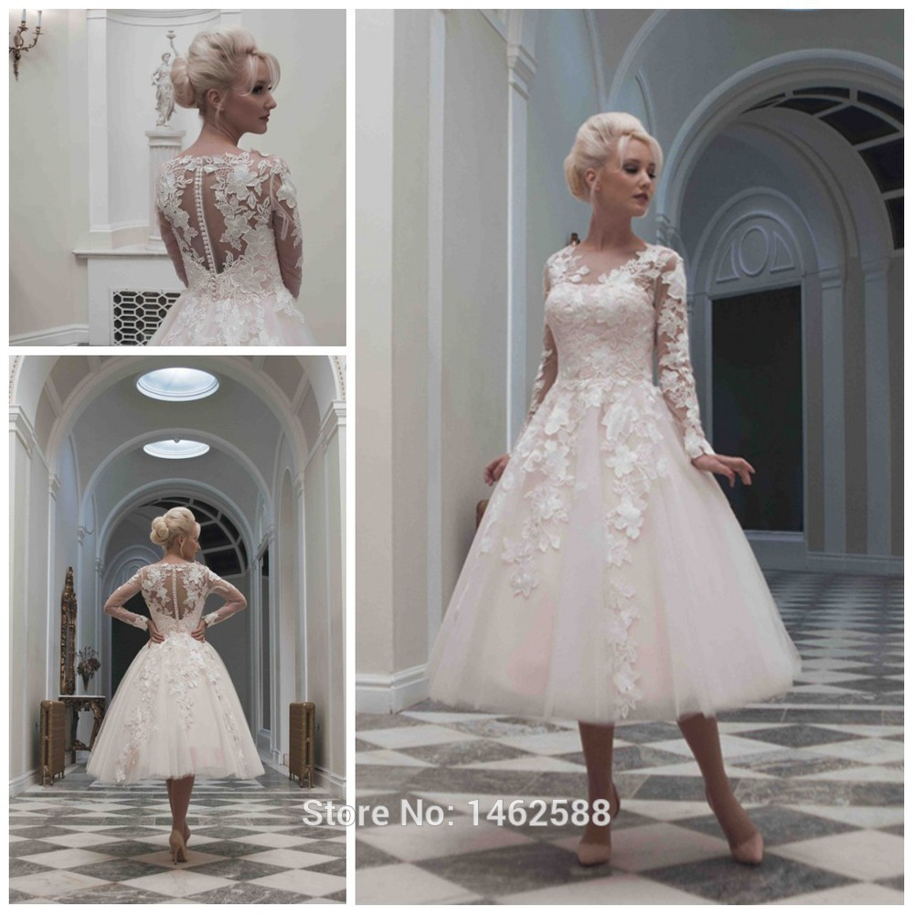 Vintage 1920 39 S Style Long Sleeves Ball Gowns Wedding Dress