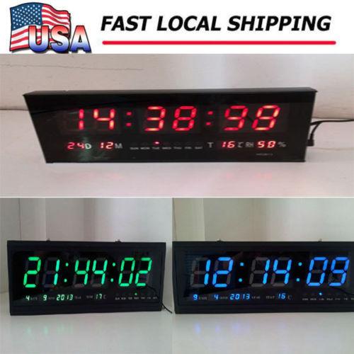 Digital Large Big Digits LED Wall Desk Alarm Clock with Calendar Temperature US(China (Mainland))