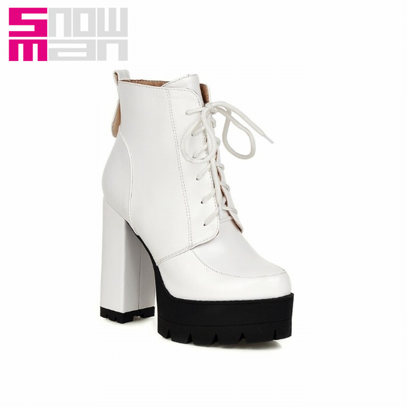 Fashion Lace up Thick High Heels Platform Ankle Boots Spring Autumn Boots Winter Shoes Woman Casual Winter Boots 2015