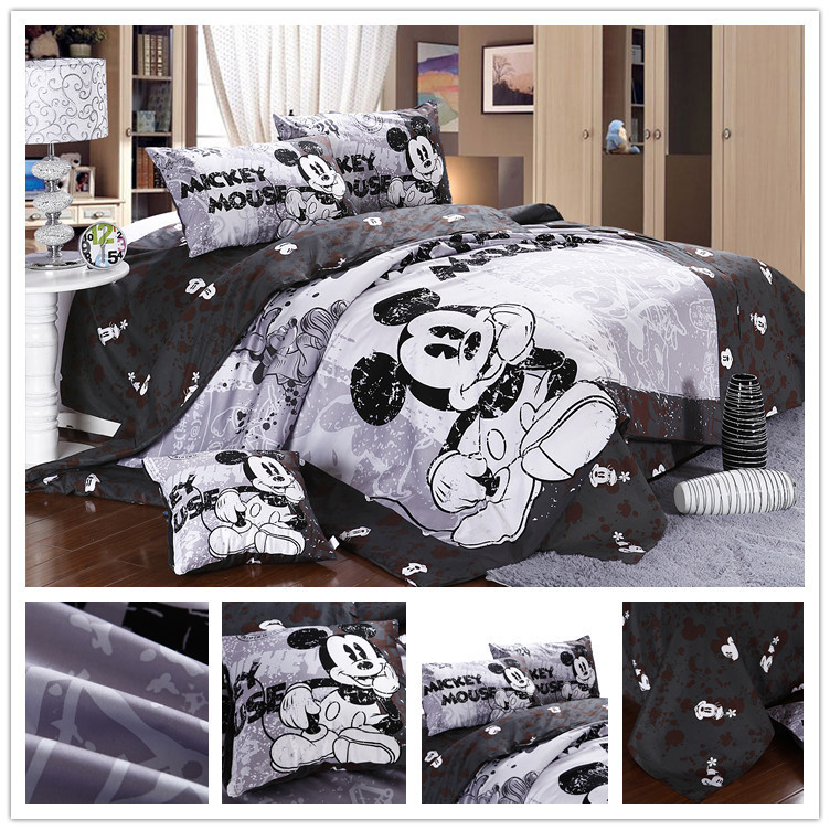 Twin Full Queen Size Character Cotton White And Black