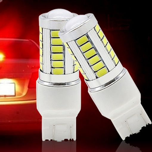 2pcs W21/5W 7443 T20 cree 33 LED 5630 5730 SMD car rear light stop bulbs auto brake lights back fog lamps red white yellow 2X(China (Mainland))