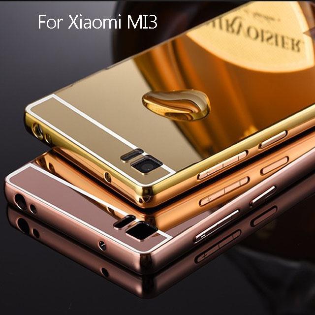 For Xiaomi Mi3 Bling Metal Aluminum Frame Bumper Mirror Surface Acrylic Back Cover Case For Xiaomi 3 Mi 3 Fundas Phone cases(China (Mainland))