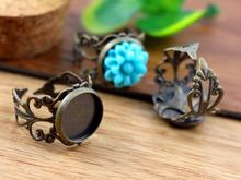 12mm 10pcs Antique Bronze Plated Brass Adjustable Ring Settings Blank/Base,Fit 12mm Glass Cabochons,Buttons;Ring Bezels -J2-08(China (Mainland))