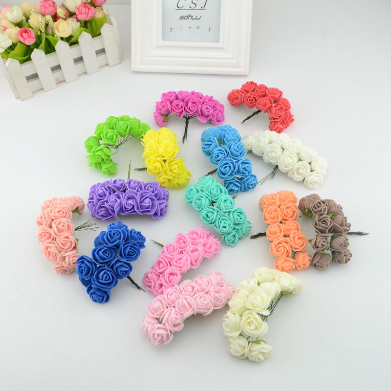 12pcs mini artificial Foam rose bouquet wedding gift boxes decorated DIY wreath collage craft artificial flowers(China (Mainland))