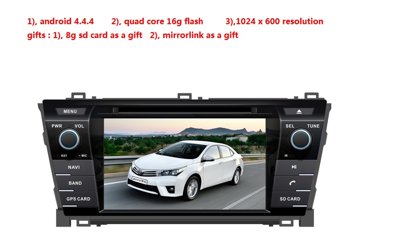 2 din 7 Android 5.1.1 для Toyota corolla 2014 автомобильный dvd, gps навигация 3 Г, wi-fi, quad core, 1024*600, поддержка OBD2, DVR givenchy 2014 12g 2 7