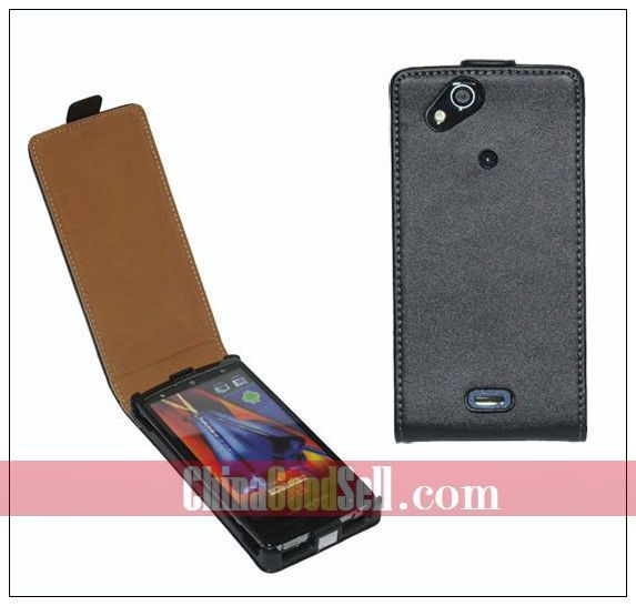 Real Leather Flip Cover Case For Sony Ericsson X12 Xperia Arc LT15i / Xperia Arc S LT18i + free shipping(China (Mainland))