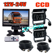 "2 x18 IR CCD Reversing Camera Night Vision Waterproof + 4Pin 7"" LCD Monitor Rear View Kit Bus Truck Van Free Shipping(China (Mainland))"