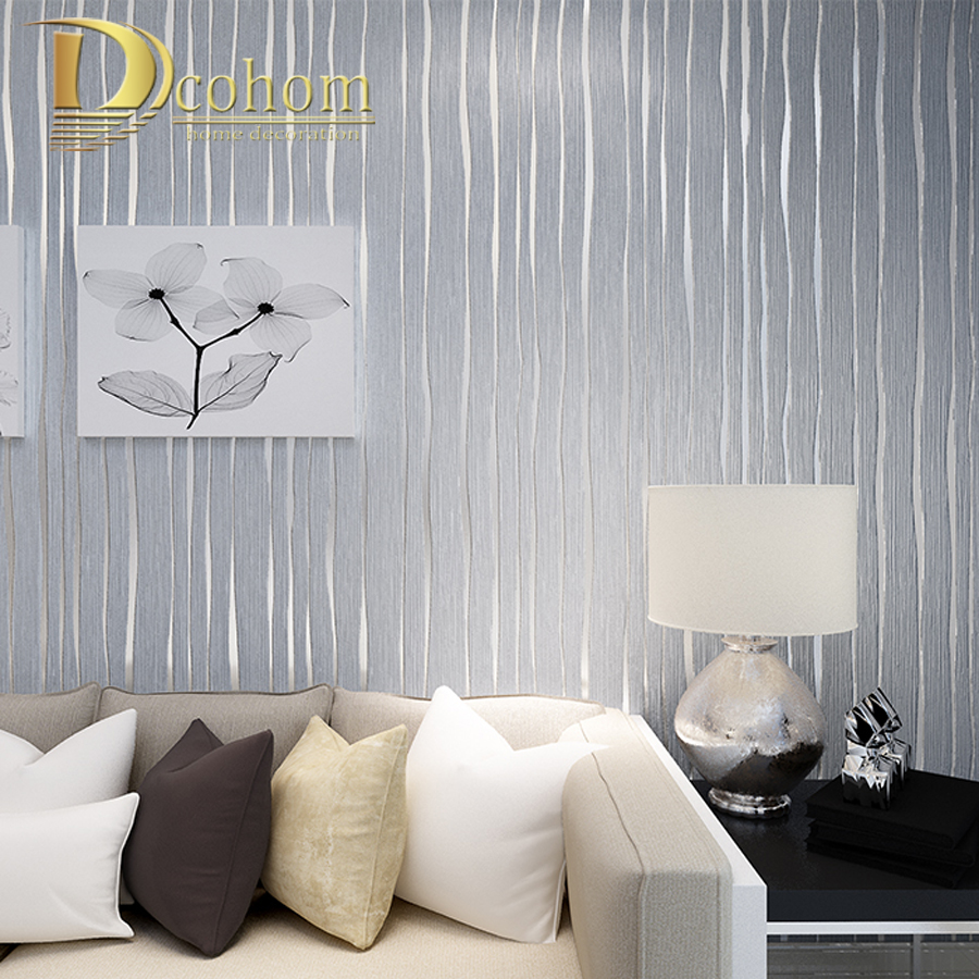 Simple gold beige pink grey modern striped wallpaper for - Dormitorios pintados a rayas ...