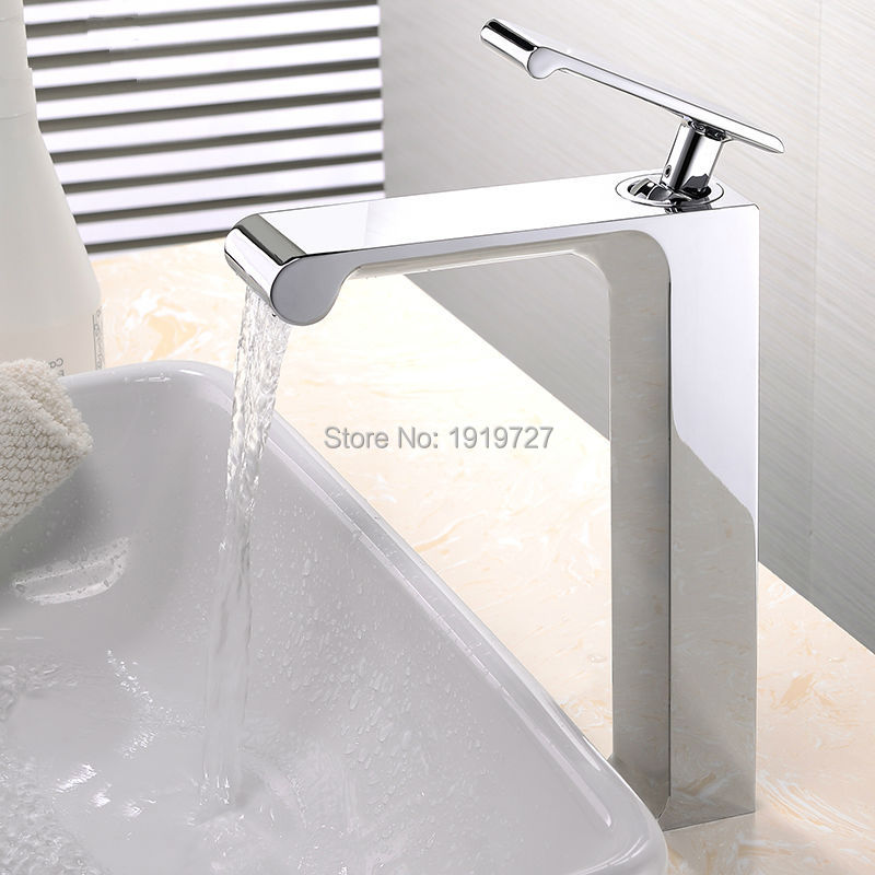 100% Solid Brass Unique High Quality Deck Mounted Chrome Basin Faucet Single Handle Hot & Cold Vessel Mixer Countertop Tap(China (Mainland))