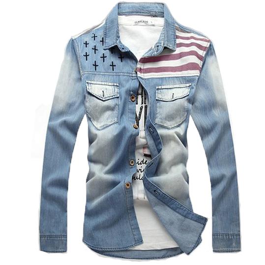 Men Shirt American Flag Denim Shirt for Male Vintage Long Sleeve Shirt Silm Fit Fashion Trend MCL144(China (Mainland))